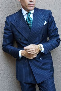 Double Breasted Pinstripe Suit, Suit Fashion, Mens Fashion, Suit Stores, Formal Dresses For Men, Suit Combinations, Mens Suits, Best Suits For Men, Suit And Tie
