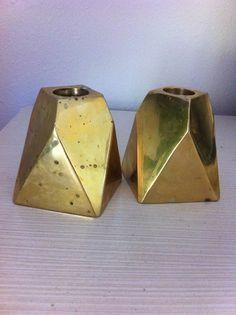 Vintage Pair 1970s Geometric Gold Brass Candlesticks // Glam Bohemian Home Decor Candleholders // Hexagon Octagon Hollywood Regency //
