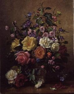 AB/244/2 Still Life with Roses (2nd version) Wall Art & Canvas Prints by Albert Williams