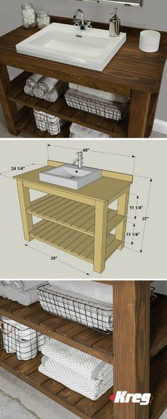 Diy Bathroom Sink Vanity Concrete Countertops Ideas For 2019 Best Picture For double bathroom sinks For Your Taste You are looking for something, and it is going to tell you exactly what you are l Bathroom Sink Cabinets, Diy Bathroom Vanity, Rustic Bathroom Vanities, Diy Vanity, Bathroom Flooring, Bathroom Furniture, Diy Furniture, Bathroom Pink, Bathroom Ideas