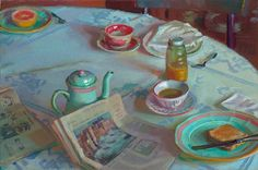 Breakfast News - oil on Linen by Lea Colie Wight