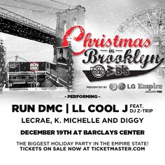 ALL ROADS LEAD TO CHRISTMAS IN BROOKLYN! IT'S JUST A DAYS AWAY!   Make sure you're in the building for the HOTTEST HOLIDAY CONCERT OF THE SEASON!! Get your tickets NOW! See legendary Rap Group Run DMC, the G.O.A.T. LL Cool J featuring DJ Z-Trip, artist & record producer Lecrae, R&B songstress K. Michelle, rapper & singer Diggy and MORE!  Barclays Center - Friday, December 19th! Get Tix NOW: http://www.ticketmaster.com/event/00004D5C9FF33227 Presented by AT&T #XMASINBK #CHRISTMASinBROOKLYN