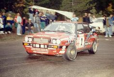 Didier Auriol at the Rallye des Cévennes 1989 with the Red delta integrale from Martini racing