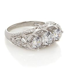 Xavier Absolute™ 3-Stone Pavé Gallery Saddle Band Ring