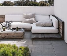 Love the recycled timber bases for these seats/daybeds. Removable cushions are a great idea. Pinned to Garden Design - Outdoor Furniture by BASK Landscape Design.