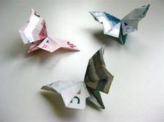 Relativ einfache Faltanleitung, sehr gutes Video! #origami #schmetterlinge als #geldgeschenk