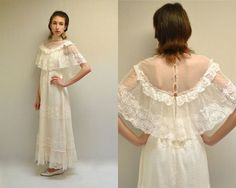 Hey, I found this really awesome Etsy listing at https://www.etsy.com/listing/225323577/70s-wedding-dress-boho-lace-wedding