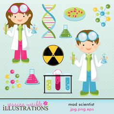 Mad Scientist clipart set comes with 10 graphics including: a Girl Scientist, a Boy Scientist, a DNA chain, 2 beakers, a petrie dish, 2 molecule models, a hazard sign and a set of test tubes.