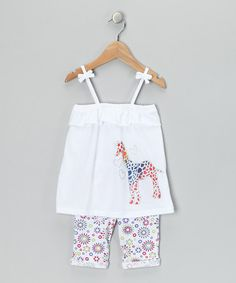 Take a look at this White & Orange Giraffe Tank & Pants - Infant & Toddler by Gioberti on #zulily today!
