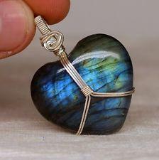 heart wrap cabochon   ... Labradorite Heart Pendant Sterling Silver Wire Wrapped, Lbt567
