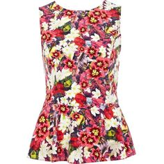 River Island Yellow floral print sleeveless peplum top ($38) ❤ liked on Polyvore