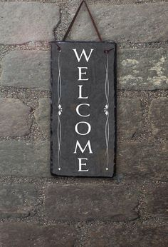 Outdoor Welcome Sign Slate Welcome Sign by SassySquirrelink Slate Art, Slate Rock, Outdoor Welcome Sign, Outdoor Signs, Tile Projects, Diy Projects To Try, Slate Signs, Wood Signs, Tile Crafts