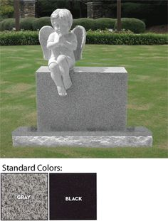 This Beautifully sculpted headstone of a fully carved Cherub Angel sitting on top of the headstone. Dimensions: X X headstone with a X X base (included). Your choice of two standard colors (Gray or Black), or can be purchased in other colors too. Headstones For Sale, Cemetery Headstones, Perennial Bulbs, In Remembrance Of Me, Modern Magic, Child Loss, Angels Among Us, Feeling Sick, S Pic