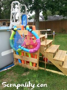 Pallet Pool Steps with Noodle Storage Pallets in the Garden