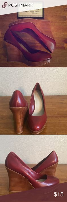 Bakers Brand Wedges Bakers cute dark red wedges. They give color to any outfit. Minimal wear on the bottom of shoe. Great brand! Bakers Shoes Wedges