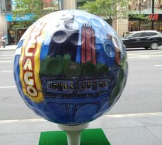 Golf balls displayed on Michigan ave in Chicago
