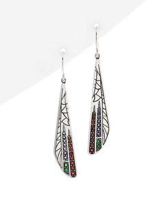 Dragonfly Silver Gemstone Earrings