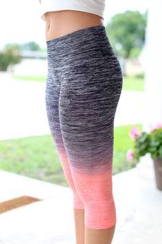 Get Fit Leggings - Coral and Grey
