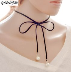 Rope imitation pearls jewelry big knot Chokers necklaces for women alloy gift layered necklace chocker fj338 YOUREM