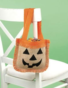 Halloween Burlap Treat Bag - the perfect, fun way for the kids to get all their yummy candy this holiday. :)