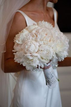 In love with this white peony bouquet. Chicago, Style Me Pretty, White, Peonies, Bouquet, Wedding