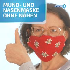 Mouth-nose mask without sewing- Mund-Nasenmaske ohne Nähen DIY for a simple breathing mask without sewing. Diy Mask, Diy Face Mask, Face Masks, Pocket Pattern, Free Pattern, Breathing Mask, Nose Mask, Cleaning Hacks, Sewing Projects