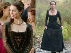 "In the episode 3x07 (""The Hound and the Hare"") Queen Mary wears the Reign Costumes custom black & gold embroidered metallic dress.Worn with the Aurelie Bidermann necklace, Lulu Frost earrings, Gillian Steinhardt labyrinth and signet rings."