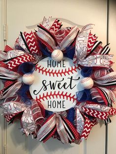 Baseball Wreath, Father's Day, Groomsmen or New Father, Red Sox Easter Wreaths, Holiday Wreaths, Holiday Crafts, Baseball Wreaths, Sports Wreaths, Patriotic Wreath, 4th Of July Wreath, Crafts To Sell, Crafts For Kids