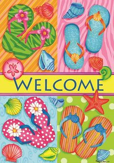 Custom Decor Flag - Bright Flip Flop Welcome Decorative Flag at Garden House Fla