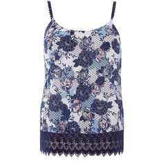 Dorothy Perkins Multi Print Lace Hem Cami Top ($35) ❤ liked on Polyvore featuring tops, multi color, lace tank, lace top, floral lace top, floral print tank top and lace camisole tank