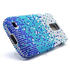 Click Image to Browse: $8.95 Blue Splash Bling Rhinestones Hard Case Cover For Samsung Galaxy S2 (Hercules T989) T-Mobile