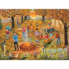 The beautifully illustrated scene of neighborhood autumn cleanup makes for a delightfully engaging and enjoyable puzzle solving experience! Puzzle Pieces, Clean Up, Autumn, Fall, 1000 Piece Jigsaw Puzzles, The Neighbourhood, Great Gifts, Scene, Seasons