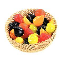 Sachet de 24 fruits assortis petit modèle en plastique. 3 bananes, 3 citrons, 3 fraises, 3 grappes de raisin, 3 figues, 3 poires, 3 pommes Grany, 3 clémentines.