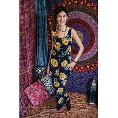 Bohemian sunflower maxi dress. Size: UK 6-8 by CuriosityClothingUK