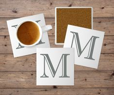 Your place to buy and sell all things handmade Monogram Coasters, Personalized Coasters, Custom Coasters, Tile Coasters, Monogram Letters, Personalized Gifts, Wedding Gifts For Couples, Gift Wedding, Christmas Gifts For Her