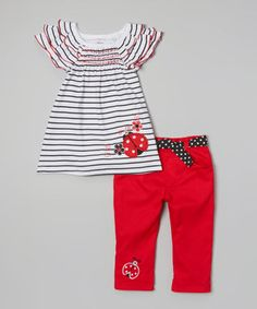 Convenience shouldn't be a luxury, and this comfy set comes perfectly paired for effortless styling. Darling ladybug appliqués and an elastic waistband on the pants take this ensemble from sweet to sensational.