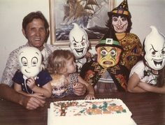 That is me holding Ms. Beasly in front of my birthday cake looking at my cousins wearing those wonderful Halloween costumes...that are now considered vintage :/ Does that mean I am vintage?? lol
