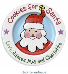Cookies for Santa - Cookies and Milk - Cookies for Santa Plate - Kids Christmas Gift - Family Christmas - Christmas Gift Ideas - Baby's Personalized Cookies, Personalized Gifts For Kids, Personalized Plates, Monogram Cookies, Painted Ceramic Plates, Hand Painted Ceramics, Ceramic Painting, Pottery Painting, Painted Pottery