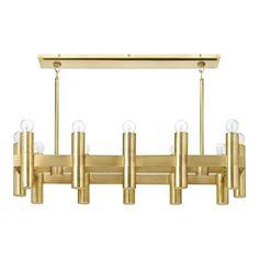 "Nash 36"" Linear Chandelier, Antiqued Brass"