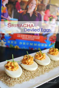 Sriracha Deviled Eggs by The Pioneer Woman Thanksgiving Deviled Eggs, Easter Deviled Eggs, Best Deviled Eggs, Deviled Eggs Recipe Pioneer Woman, Devilled Eggs Recipe Best, The Pioneer Woman, Food Network Recipes, Real Food Recipes, Yummy Food