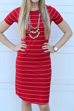 Striped Summer Tee Dress: Red with Thin White Stripe