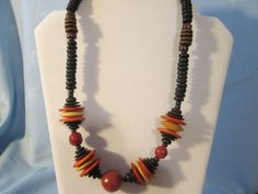 """Handmade Wooden Necklace - Vintage Beads - Colors Brown,Black,orange,gold - Length 22"""" by LsFindsandCreations on Etsy"""