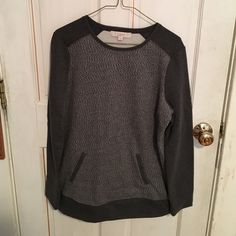 Long Sleeve LOFT Sweater Grey long sleeved LOFT sweater with front pocket, never worn and in great condition. Super soft of the inside and very comfortable but also stylish. Reasonable offers welcome! No trades. LOFT Sweaters Crew & Scoop Necks