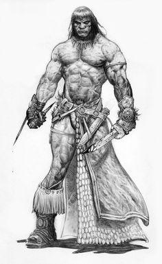 Conan art and illustrations of Robert E. Featuring fantasy art in the age of Conan. Red Sonja, Comic Books Art, Comic Art, Conan Der Barbar, Conan The Destroyer, Character Art, Character Design, Frank Frazetta, Viking Warrior