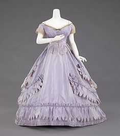 Evening ensemble with day bodice. Worth and Bobergh. Designer: Charles Frederick Worth.  Date: 1862–65.  Culture: French.  Medium: silk.  The Costume Institute of The Metropolitan Museum of Art, NYC, USA.