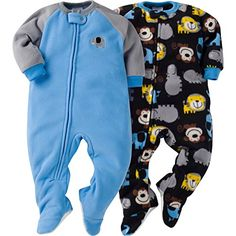 Gerber Boys' Baby and 2 Pack Blanket Sleepers Elephant 6-9 Months
