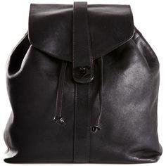 Chanel Vintage logo backpack (126,115 PHP) ❤ liked on Polyvore featuring bags, backpacks, backpack, black, purses, sac, vintage backpack, day pack backpack, lock bag and locking backpack