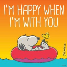 "Snoopy and Woodstock friendship and love -- ""I'm happy when I'm with you. Snoopy Love, Snoopy Et Woodstock, Peanuts Quotes, Snoopy Quotes, Peanuts Cartoon, Peanuts Snoopy, Snoopy Pictures, Snoopy Images, Joe Cool"