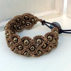 -Crochet Jewelry, Bohemian Bracelet or Cuff, Natural brown shades ...