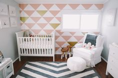 Pink and Gray Nursery with Triangle Accent Wall - love this chic, modern look!